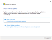 Microsoft Show or Hide Updates.
